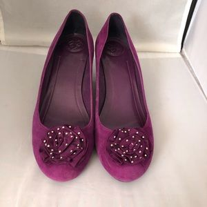 BCBGeneration purple suede wedge shoes 9.5